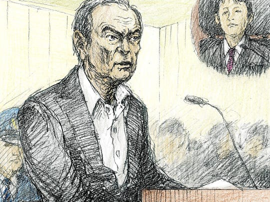 Courtroom sketch depicting former Renault Nissan CEO Carlos Ghosn in a courtroom at Tokyo District Court on Jan. 8, 2019. Ghosn denied wrongdoing on charges of financial crimes.