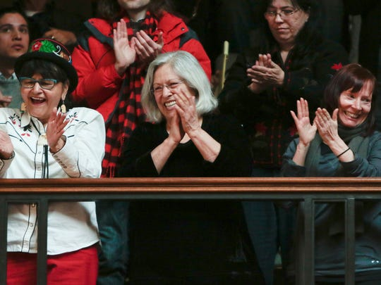 Spectators in the gallery applaud at the conclusion of the State of the Tribes address at the state Capitol in Madison on Thursday.