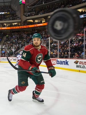 Minnesota Wild forward Chris Stewart (44) watches the puck during the second period against the New York Rangers at Xcel Energy Center.