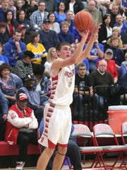 Shelby's Hunter Hoffman shoots from the three-point