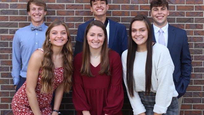 2020 Ellis High School Homecoming Royalty: Back Row, left to right:  Brady Frickey, son of Stacy & Brad Frickey; Daniel Eck, son of Geoff & Mindy Eck; Tegan Cain, son of Brent & Darci Cain.Front Row, left to right:  Abigail North, daughter of Travis & Ava North; Grace Eck, daughter of Mark & Sarah Eck; Morgan Bittel, daughter of Brady Bittel and Tammy Rudd.