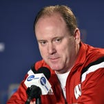 Mar 24, 2016; Philadelphia , PA, USA; Wisconsin Badgers head coach Greg Gard speaks to the media during a press conference the day before the semifinals of the East regional of the NCAA Tournament at Wells Fargo Center. Mandatory Credit: Bob Donnan-USA TODAY Sports
