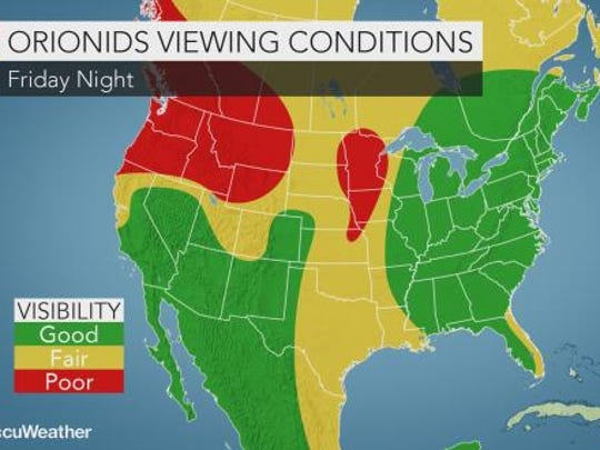 The Orionid Meteor shower is expected to peak on Friday night into Saturday morning. The East Coast is expected to have the best weather conditions to view the shower.