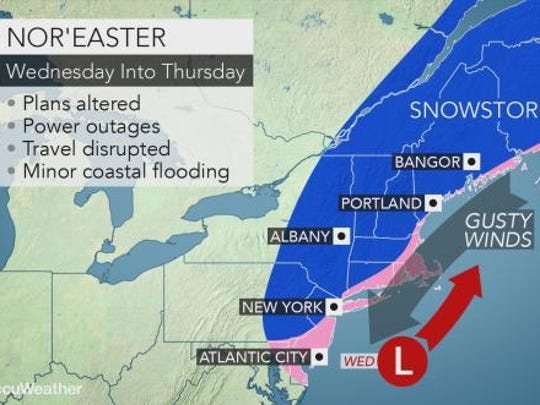 Wednesday could bring another nor'easter and 9 inches of snow to the Lower Hudson Valley.