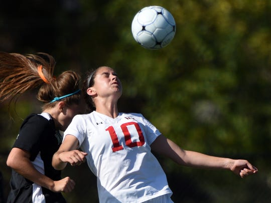 Northern Highlands' Elizabeth Peebles #10 wins a header ball. Northern Highlands defeated Pascack Valley 5-1 in the semifinals of the Bergen County Girls Soccer Tournament at River Dell High School on Sunday, October 22, 2017.