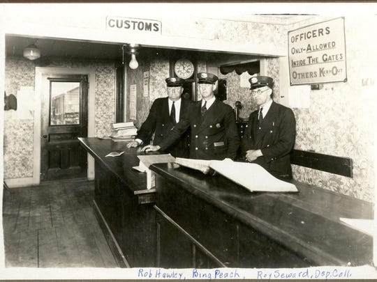 Interior of the U.S. Customs Office at the Swanton Border crossing, c. 1920. Most alcohol was seized at border crossings, hence the temptation to smuggle it in through extra-legal means.