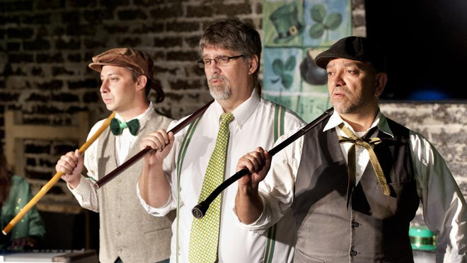 """Jack Patino, right, Dave Huckabay, and Henry Gonzales, rehearse for Ice House Theatre's production of """"Top of the Evenin' to Ye - A Cabaret."""""""