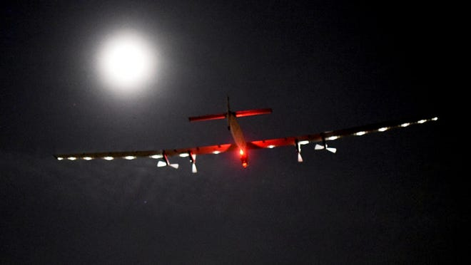 """In this photo provided by Solar Impulse, """"Solar Impulse 2,"""" the solar airplane of Swiss pioneers Bertrand Piccard and Andre Borschberg, moves through the sky shortly after the take off from Dayton International Airport, in Dayton, Ohio to Lehigh Valley International Airport in Allentown, Pa., on Wednesday, May 25, 2016. The plane's departure from Dayton was delayed from Monday as project officials checked for possible damage after fans that keep the mobile hangar inflated had a power failure. (Jean Revillard/Solar Impulse via AP)"""