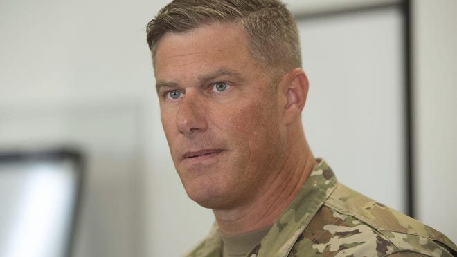 Letterkenny Army Depot Commander Col. Stephen Ledbetter, leads a press conference about an explosion in a paint shop that injured workers Thursday morning, July 19, 2018 at Letterkenny Army Depot, in Chambersburg, Pa. (Markell DeLoatch, Public Opinion/via AP)