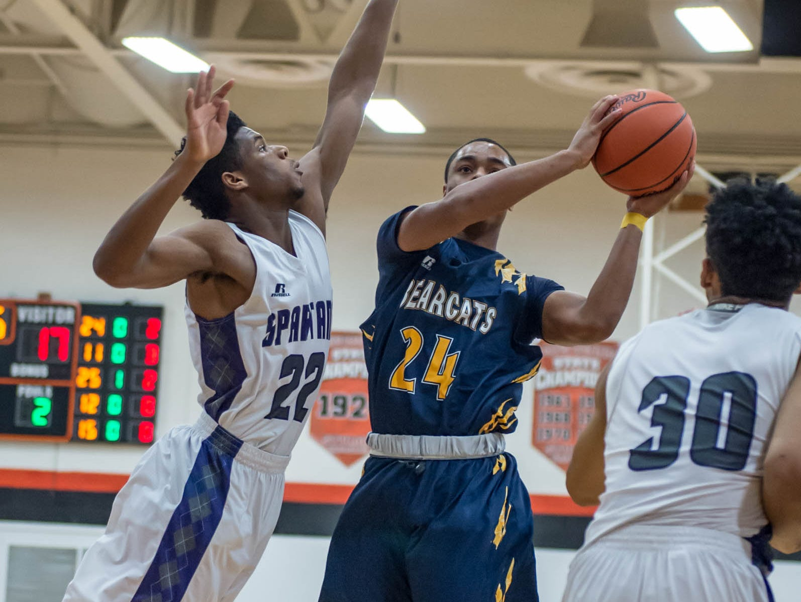 Battle Creek Central's Cyntell Williams (24) goes for the hoop against Lakeview Wednesday night.