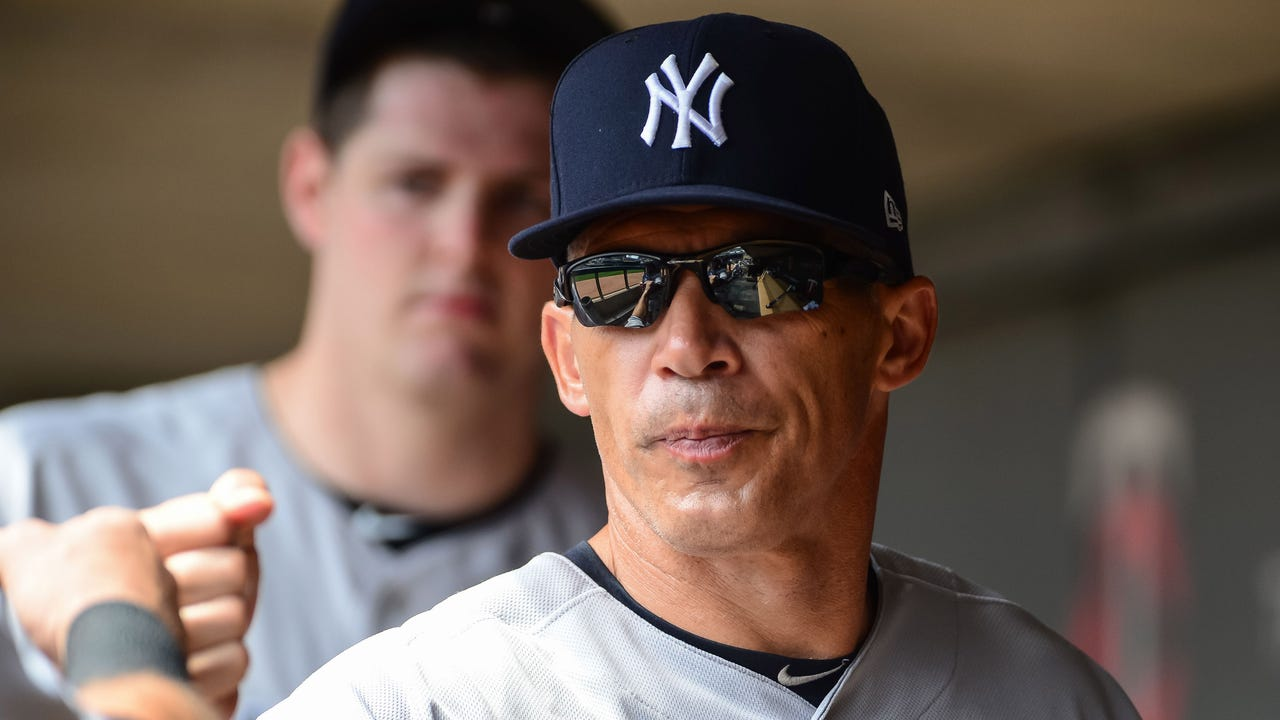 Yankees manager Joe Girardi talking before the series opener against the Reds on Tuesday, July 25, 2017.