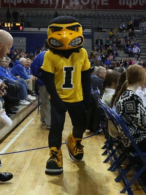 Herky, University of Iowa's mascot, greets fans before a game.