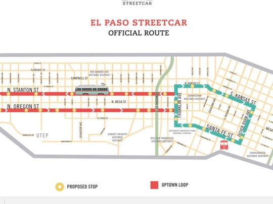 The El Paso streetcar route.