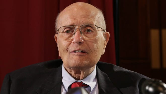 U.S. Rep. John Dingell, 87, takes questions from reporters after a luncheon where he addressed his retirement from being the longest serving member of congress at the Southern Wayne County Regional Chamber at Crystal Gardens in Southgate on Feb. 24, 2014.