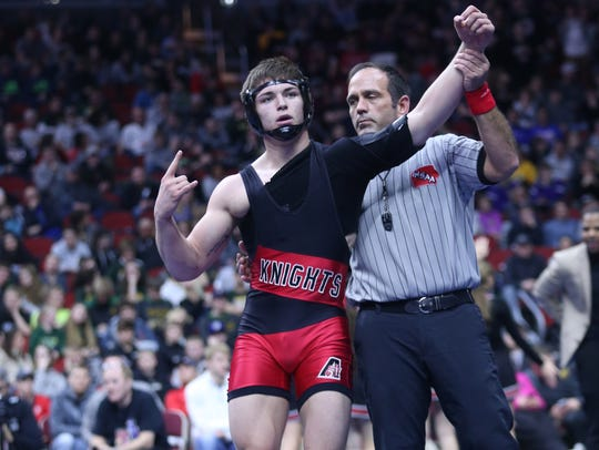 Julien Broderson, a senior for Davenport Assumption, is a two-time state champion and an Iowa State signee. Broderson will lead Assumption into state duals next week at Wells Fargo Arena.