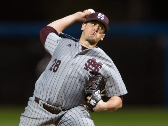 Mississippi State starting pitcher J P France (28) releases a pitch Jackson State during their game Wednesday night in Jackson.