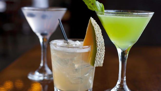 Blueberry 'Tini, a Cantaloupe Rush and a Basil Martini, all made with vodka.