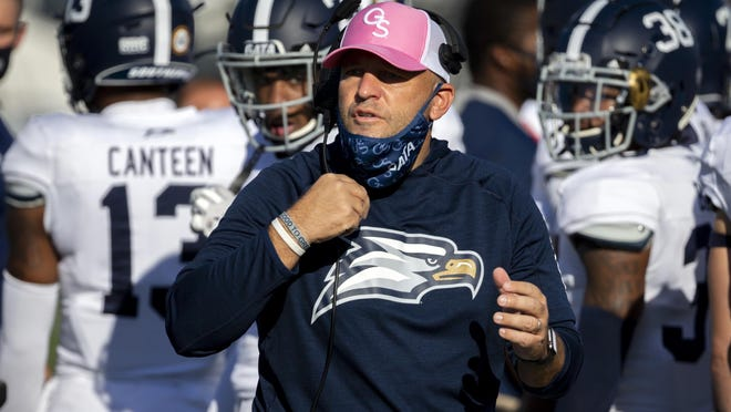 Georgia Southern head coach Chad Lunsford reacts to a targeting foul call during the game against UMass on Oct. 17 at Paulson Stadium in Statesboro. The host Eagles won 41-0.