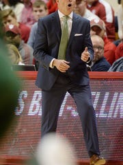 South Florida head coach Brian Gregory shouts during an NCAA Indiana South Florida men's college basketball game at Simon Skjodt Assembly Hall in Bloomington, Ind., Sunday, Nov. 19, 2017. (Chris Howell/The Herald-Times via AP)
