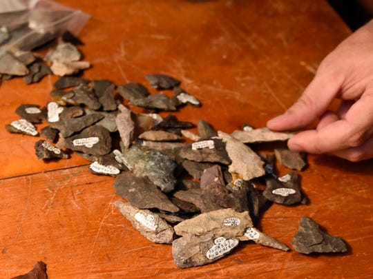 A collection of arrow heads and tools are seen on Friday, September 9, 2016 that were discovered during an archaeological dig at the historic Allison-Ebbert farm in Greencastle.