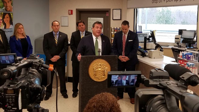 Governor Christie speaks about drug addiction at a Walgreens in East Brunswick on Dec. 22, 2016.
