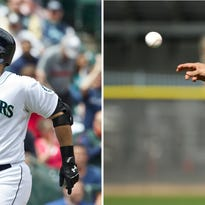 At left, in a June 17, 2014, file photo, Seattle Mariners' Jesus Montero, right, is congratulated by teammate Cole Gillespie after hitting two-run home run that scored Gillespie during second inning of a baseball game against the San Diego Padres in Seattle. At right, in a Feb. 21, 2015, file photo, Montero throws during spring training baseball practice in Peoria, Ariz. Big and bloated or slim and sleek, plenty of players showed up to spring training this year looking nothing like they did last year.