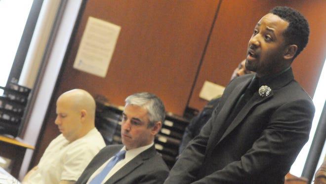 Marcus Jeter speaks before Judge Ravin Feb. 23, 2016.