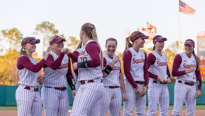 All smiles as the FSU softball team defeats local rival FAMU by a score of 5-0 on Wed., Feb.15 at JoAnne Graf field in Tallahassee, FL.