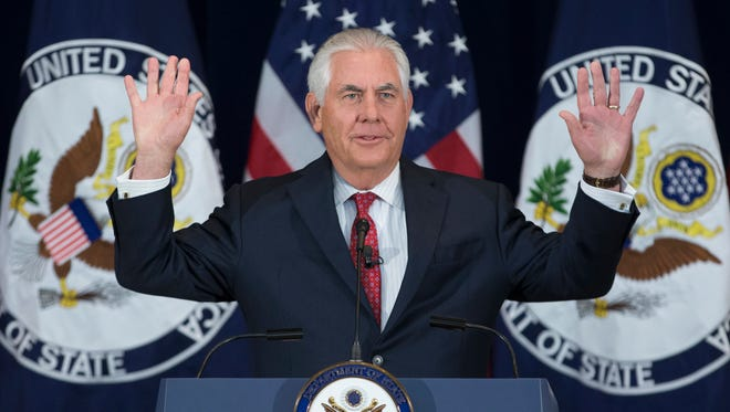 Secretary of State Rex Tillerson delivers an address to State Department employees at the State Department in Washington, DC on May 3, 2017. Tillerson updated State Department employees on the foreign policy perspective of the Trump administration.