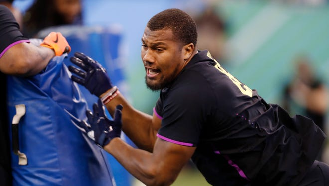 North Carolina State Wolfpack defensive lineman Bradley Chubb participates in work out drills during the 2018 NFL Combine at Lucas Oil Stadium.