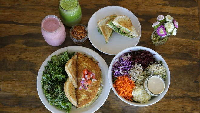 Enjoy healthy meals at Seed to Sproud, including  the Mexican Omelette, Free Radical Smoothie, Green Goddess Juice, Coconut Bacon, Grilled Avocado Sandwich and the Seed Salad.
