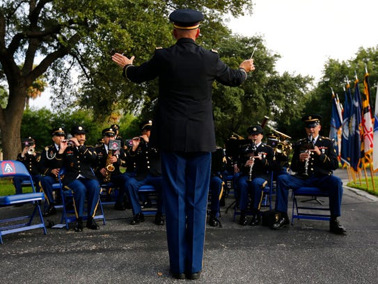 In a Thursday, June 29, 2017 photo, band commander