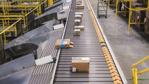 Boxes in Amazon's fulfillment center