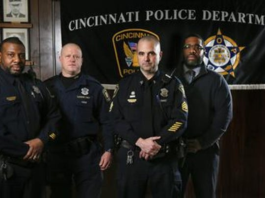The Sentinels' president, Officer Eddie Hawkins, at left, with the FOP first vice president, Officer Don Meece; the FOP president, Sgt. Dan Hils; and the Sentinels' vice president, Det. Marcus McNeil, in 2016.
