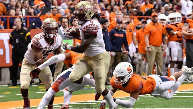 Dalvin Cook ran for 225 yards and four touchdowns against Syracuse in a 45-14 FSU win.