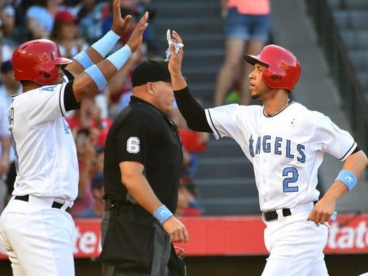 USP MLB: KANSAS CITY ROYALS AT LOS ANGELES ANGELS S BBA LAA KC USA CA