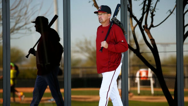 Arizona Diamondbacks Assistant Hitting Coach Mark Grace starts his day during spring training practice on Wednesday, Feb. 25, 2015 in Scottsdale, AZ.