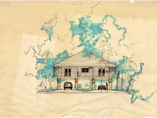 This original architectural rendering, donated to the