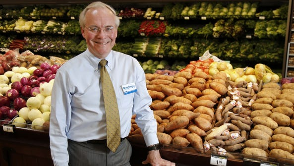Kroger CEO Rodney McMullen in the produce section of