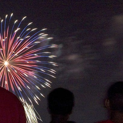 Fireworks blaze up over the Louisville waterfront at a past Fourth of July celebration.