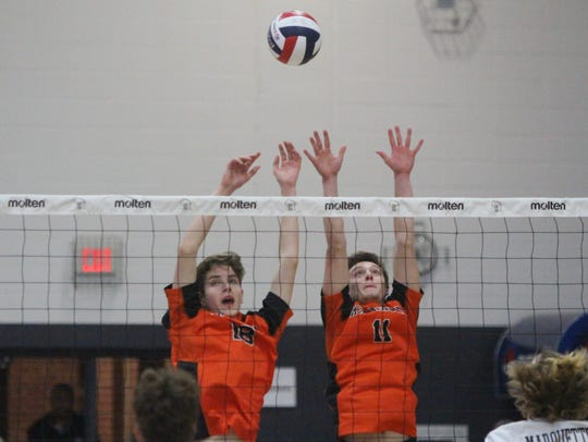 Kaukauna blockers Nicholas Voet (left) and Evan Dushack