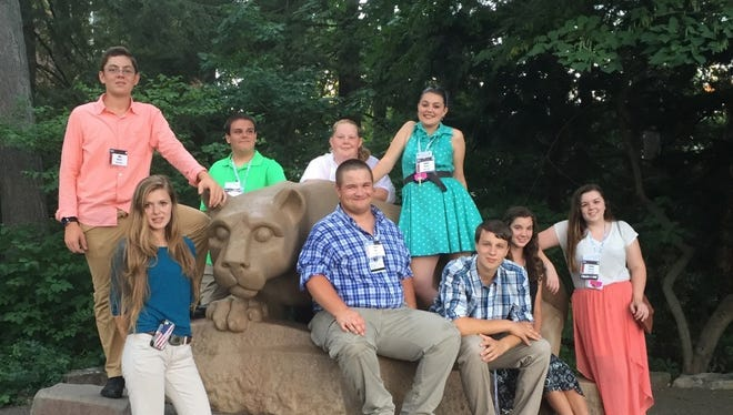 The delegation of eight 4-Hers from Adams County that traveled to University Park on July 25 to compete in 4-H Pennsylvania State Achievement Days are shown, front row, from left: Kendra Berkebile, Brad Woerner, Jacob Bower, Kaitlin Repp, Megan Stoermer; back row: Jacob Bankert, Nathan Hoover, Kaitlin Williams and Baillee Crandell.