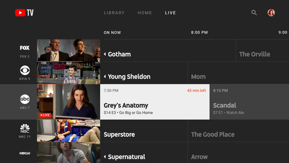 Screenshots of the new YouTube TV app for big-screen