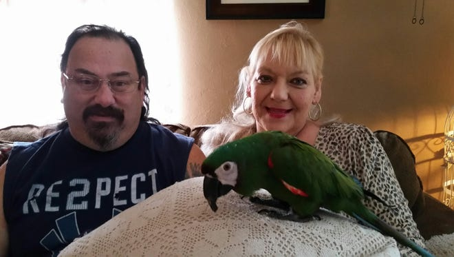 Dingy-Dora, an 11-year-old chestnut-fronted macaw, and her owners, Paula Neill Racioppi and her husband, Nick.
