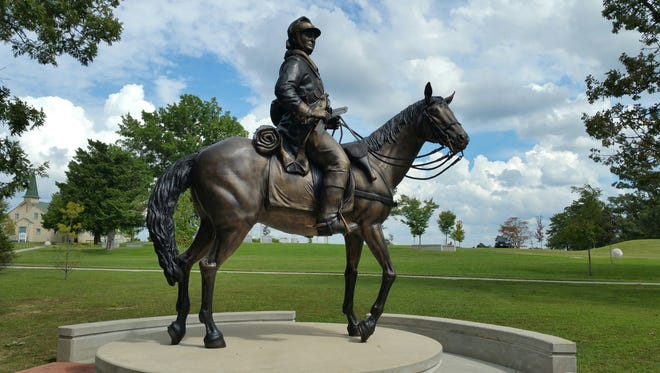 James Hall's equestrian sculpture, located in Memorial Grove at Fort Leonard Wood.