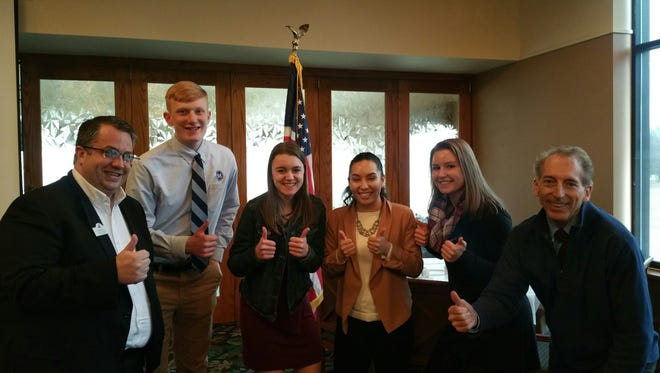 Pictured are Fond du Lac Noon Rotary's November student guests and Rotary members, from left: Steve Leaman, student coordinator of the Fond  du Lac Noon Rotary; Alex Hoepfner; Megan Wendt; Paola Rabadan; Jena Krueger and Dave Hornung, president elect of Fond du Lac Noon Rotary.
