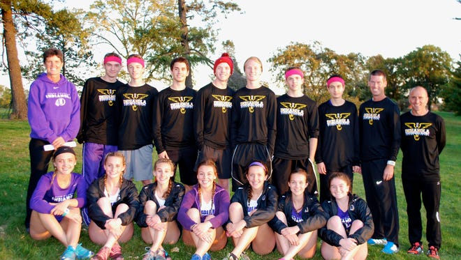 Indianola's boys and girls cross country teams won the Metro conference title last week. Boys, from left, Gabe Pottebaum, Dudley Yeoman, Oleg Nochvay, Tyler Combs, Joe Howard, Quentin Linnan and Seth Nostrala. Girls included: Paige Nicholson, Jensen Gebhart, Jadyn Forbes, Micheala Baretta, Grace Berg, Katelyn Schulze and Jacque Mcginnis