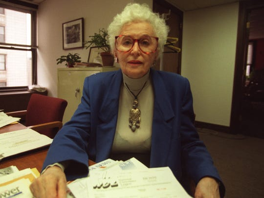 Esther Shapiro, director of Detroit Consumer Affairs, sits in her office shortly before she left in 1998, when the Archer Administration changed several department heads without saying they'd been fired.