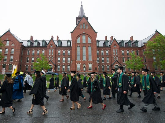 Students make their way to the ceremony during the University of Vermont graduation ceremony on Sunday morning May 20, 2018 in Burlington.