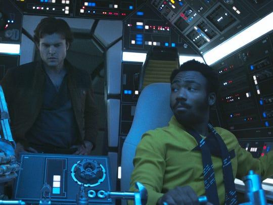 Alden Ehrenreich (center) is Han Solo, Donald Glover